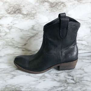 Frye Carson Shortie Black Leather Boots